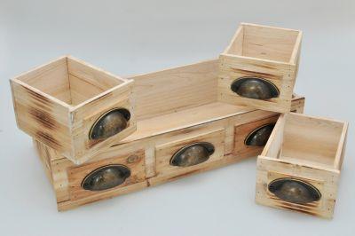 4-tlg. Holz-Kisten Set ´´Ancona´´ natur