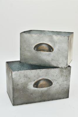2-tlg. Metall-Kisten Set ´´Padua´´ grau