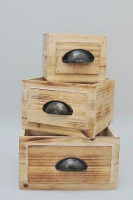 3-tlg. Holz-Kisten Set ´´Ancona´´ natur