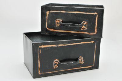 2-tlg. Metall-Kisten Set ´´Padua´´ schwarz