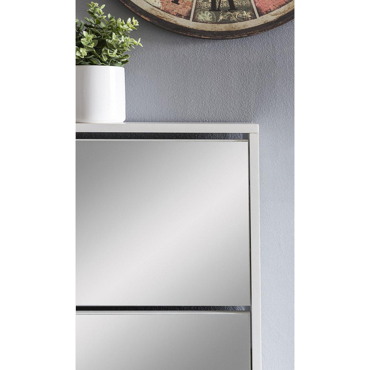 schuhkipper mit 2 klappen spiegel 63x67x17 cm wei yomonda. Black Bedroom Furniture Sets. Home Design Ideas