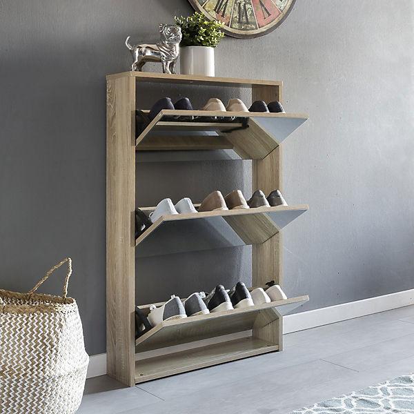 schuhkipper mit 3 klappen spiegel 63x67x17 cm beige yomonda. Black Bedroom Furniture Sets. Home Design Ideas