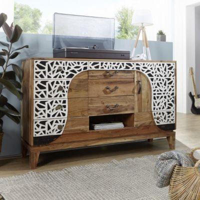 Akazie Massivholz Sideboard ´´Orient´´ 148x93x45 cm beige/schwarz