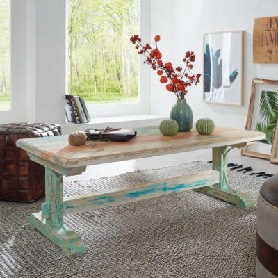 Massivholz Couchtisch ´´Vintage´´ 15x55x42 cm creme