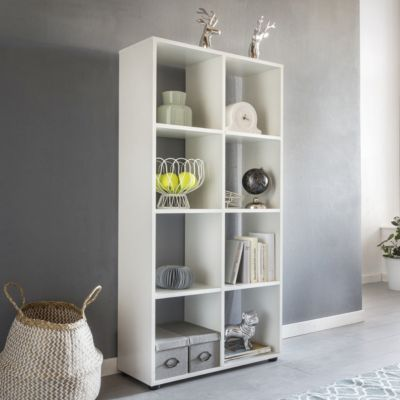 Würfel-Regal & Raumtrenner mit 8 Fächern 70x142x29 cm weiß | Wohnzimmer > Regale > Regalwürfel | Spanplatte | yomonda