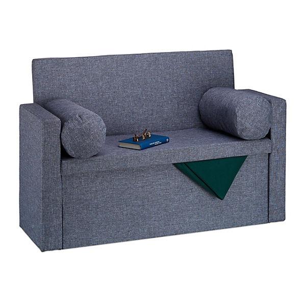 Faltbare Sitzbank Mit Aufbewahrung Lehne Mit Kissen Grau