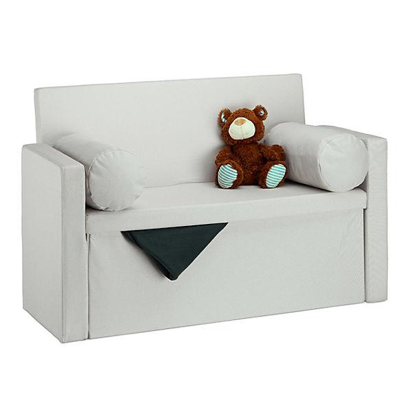 Faltbare Sitzbank Mit Aufbewahrung Lehne Mit Kissen Beige