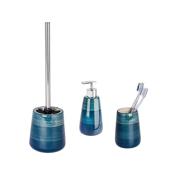 Bad-Accessoires Set Pottery Petrol, 3-teilig, Zahnputzbecher, Seifenspender  & WC-Garnitur, türkis, WENKO