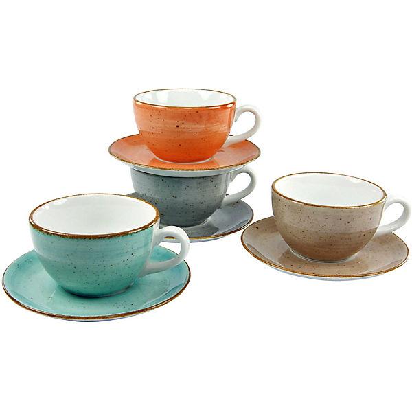 8 tlg cappuccino tassen set mit unterteller vintage. Black Bedroom Furniture Sets. Home Design Ideas