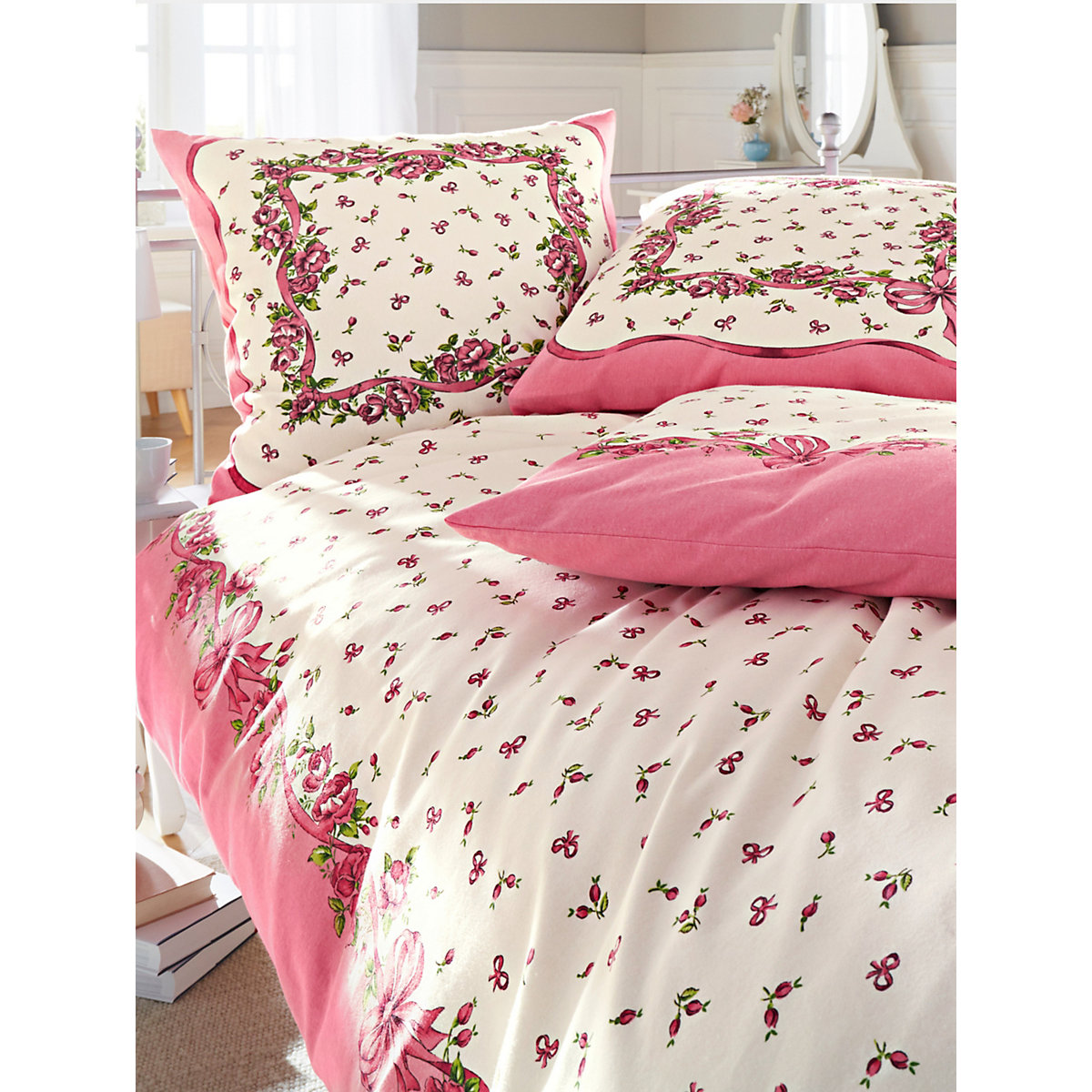 4tlg set biber bettw sche rosen schleifchen 2 stk 135x200 2 stk 80x80 cm rosa webschatz. Black Bedroom Furniture Sets. Home Design Ideas