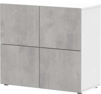 Kommode Concrete, weiß / Beton weiß-kombi