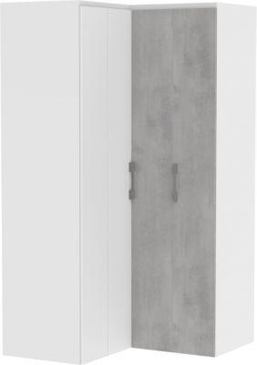 Wellemöbel Eck-Kleiderschrank Concrete, weiß / Beton weiß/grau