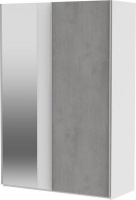Wellemöbel Schwebetürenschrank Concrete mit Spiegel, 2-türig, weiß / Beton, 150 cm weiß/grau