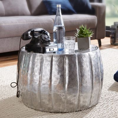 WOHNLING Couchtisch JAMAL 60x36x60 cm Aluminium Beistelltisch Orient Sofatisch Wohnzimmertisch Loungetisch kupfer