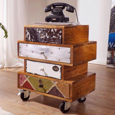Mango Massivholz Kommode ´´Patchwork Materialmix´´ mit Rollen & 4 Schubladen 50x35x60 cm bunt
