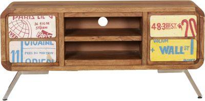 Sheesham Massivholz Sideboard ´´Wall St´´ mit 4 Schubladen 130x89x38 cm bunt