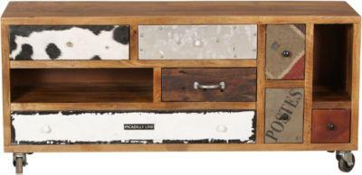 Mango Massivholz TV-Board ´´Patchwork Materialmix´´ mit Rollen & 7 Schubladen 130x40x60 cm bunt