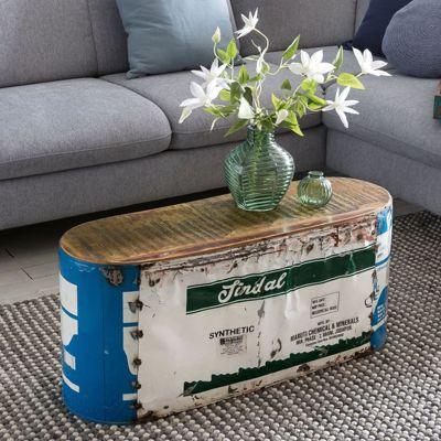 Recyceltes Massivholz & Metall Couchtisch ´´Barrel´´ 84x37x29 cm mehrfarbig