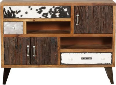Mango Massivholz Sideboard ´´Patchwork Materialmix´´ 120x35x88 cm bunt