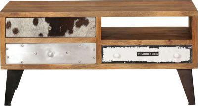 Mango Massivholz Lowboard ´´Patchwork Materialmix´´ mit 3 Schubladen 100x51x40 cm bunt