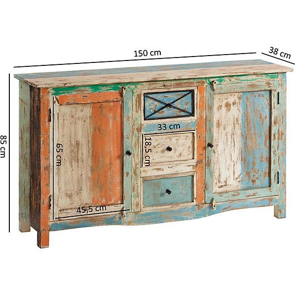 Upcycling Schwellenholz Sideboard Shabby 150x38x85 Cm Mehrfarbig