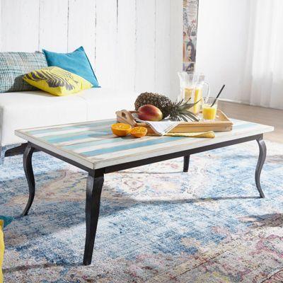 Mango Massivholz & Eisen Couchisch ´´Beach Shabby´´ 115x60x40 cm hellblau/weiß