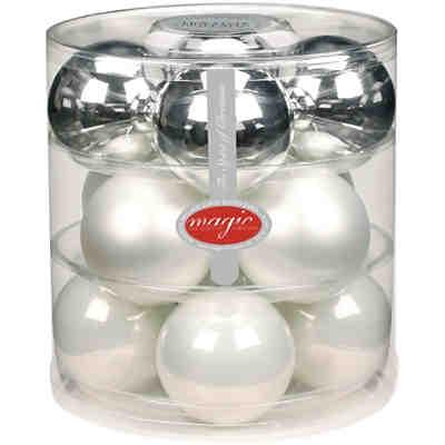 28 tlg set glas weihnachtskugeln 3 cm silber wei. Black Bedroom Furniture Sets. Home Design Ideas