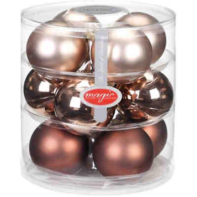 Weihnachtskugeln Kupfer.12 Tlg Set Glas Weihnachtskugeln ø7 5 Cm 50 Aufhänger Kupfer Bronze Magic