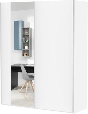 Wellemöbel Schwebetürenschrank Grow Up mit Spiegel, 2-türig, weiß, 175 cm