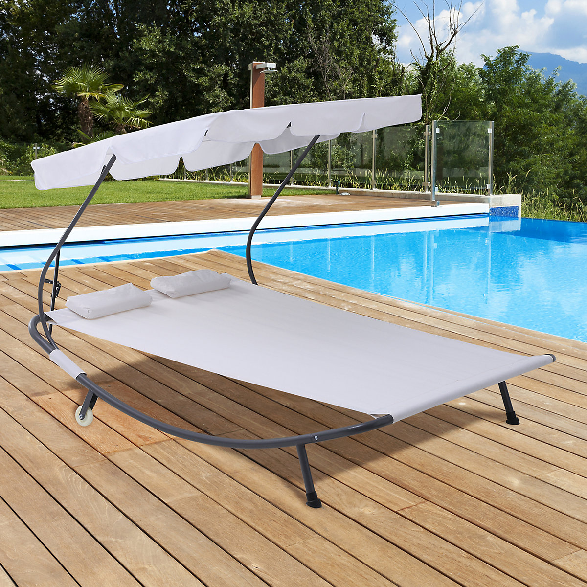 outsunny doppelliege mit dach beige outsunny yomonda. Black Bedroom Furniture Sets. Home Design Ideas