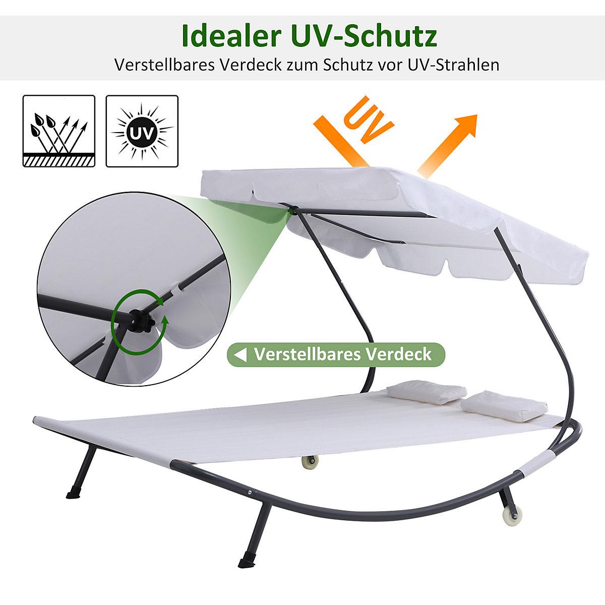 doppl sonnenliege mit rollen und dach beige outsunny yomonda. Black Bedroom Furniture Sets. Home Design Ideas