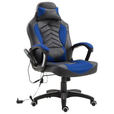 Bürostuhl mit Massage- und Wärmefunktion blau