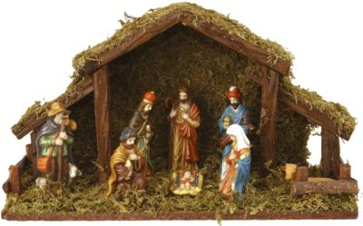 9-tlg. Weihnachtskrippen Set aus Holz mit Beleu...
