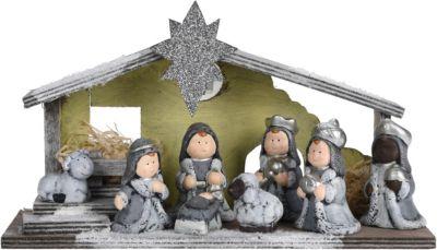 Holz Weihnachtskrippe, warmweiß, LED, H17 cm , ...
