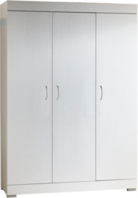 Kleiderschrank Maris, 3-türig, Weiß-Matt Holzstruktur