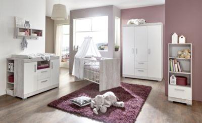 Komplett Kinderzimmer Victor, 3-tlg. (Kinderbett exkl. Umbauseiten, Wickelkommode und 3-türiger Kleiderschrank), weiß/Pinie grau