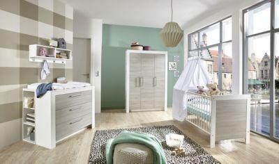 Komplett Kinderzimmer Toni, 3-tlg. (Kinderbett exkl. Umbauseiten, Wickelkommode und 3-türiger Kleiderschrank), Ulme Silber-Grau