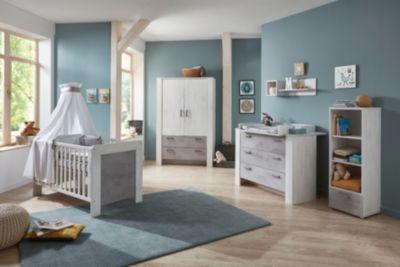 Komplett Kinderzimmer Lola, 3-tlg. (Kinderbett exkl. Umbauseiten, Wickelkommode und 2-türiger Kleiderschrank), White Washed Wood / Stone