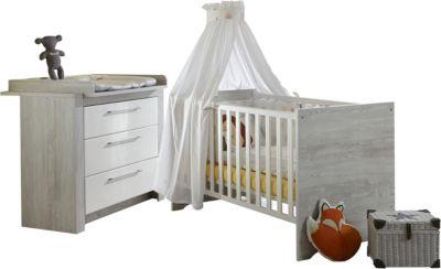Sparset Emilia 2-tlg. (Kinderbett exkl. Umbauseiten und Wickelkommode), Pinie-Grau / Hochglanz-Weiß
