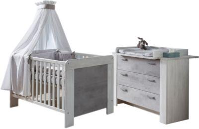 Sparset Lola 2-tlg. (Kinderbett exkl. Umbauseiten und Wickelkommode), White Washed Wood / Stone