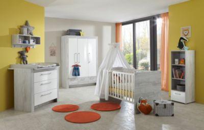 arthur berndt Komplett Kinderzimmer Emilia, 3-tlg. (Kinderbett exkl. Umbauseiten, Wickelkommode und 3-türiger Kleiderschrank), Pinie-Grau / Hochglanz-Weiß