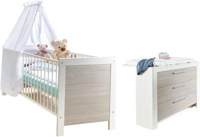 Sparset Toni 2-tlg. (Kinderbett exkl. Umbauseiten und Wickelkommode), Ulme Silber-Grau