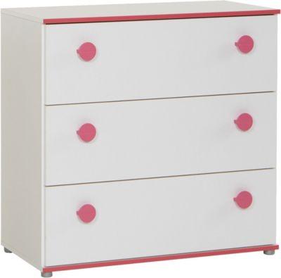 Kommode Mia, 3 Schubladen, weiß mit Kante pinkfarbig