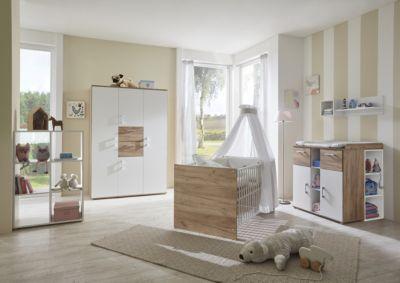 arthur berndt Komplett Kinderzimmer Anna, 3-tlg. (Kinderbett exkl. Umbauseiten, Wickelkommode und 2-türiger Kleiderschrank), Goldeiche/weiß