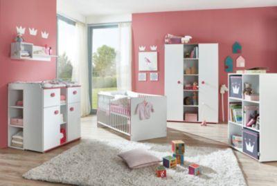 arthur berndt Komplett Kinderzimmer Mia, 3-tlg. (Kinderbett exkl. Umbauseiten, Wickelkommode und 3-türiger Kleiderschrank), weiß mit Kante pinkfarbig