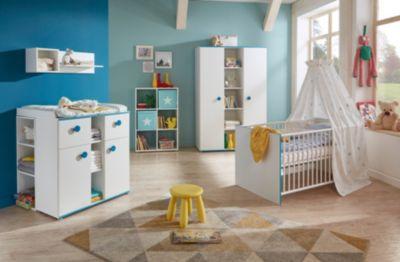 Komplett Kinderzimmer Moritz, 3-tlg. (Kinderbett exkl. Umbauseiten, Wickelkommode und 3-türiger Kleiderschrank), weiß mit Kante türkis