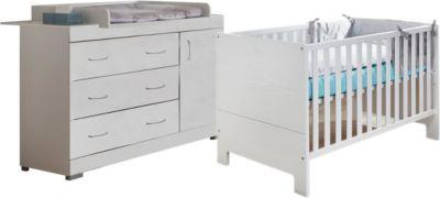 Sparset Maris 2-tlg. (Kinderbett exkl. Umbauseiten und Wickelkommode), Weiß-Matt Holzstruktur