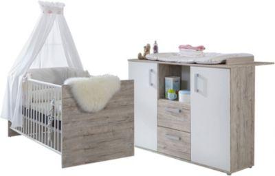 Sparset Bente 2-tlg. (Kinderbett exkl. Umbauseiten und Wickelkommode), weiß/Eiche Sand