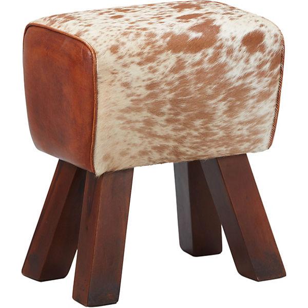 Massivholz Leder Sitzhocker 28x40x48 Cm Beige Yomonda