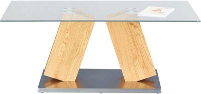 Glas & Nachbildung Wildeiche Couchtisch 110x60 cm beige